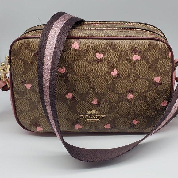 Coach Signature Heart Floral Print Jes Camera Bag